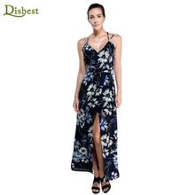 Disbest Factory Directly Bohemian Style Womens Chiffon Sexy Deep V-neck Knee Length Long Maxi Beach Dress