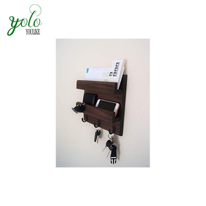 High Quality Wood Mail Storage with Coat and Key Hooks