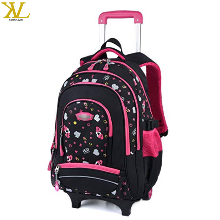 Backpack With Wheels For Girls Rolling School Travel Bag Kid Newheart Luggage