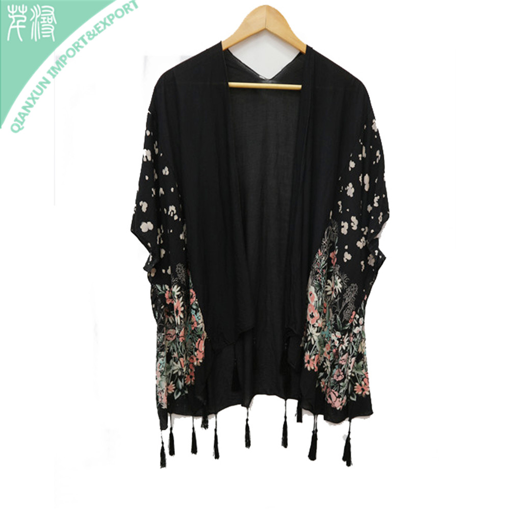 SC-128911 Women floral printed soft 100% viscose kimono cardigan outfit shawl