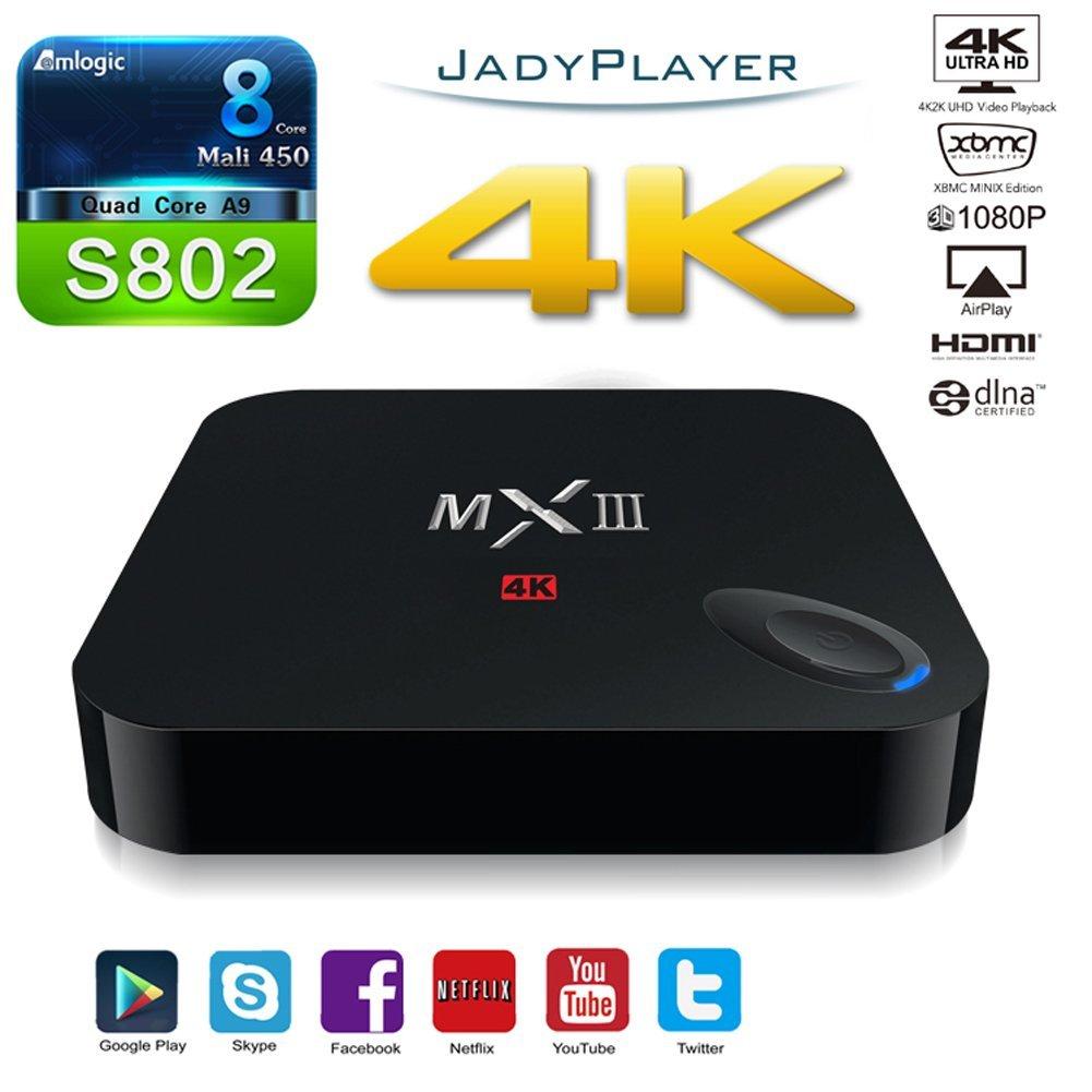 RioRand Mxiii Amlogic S802 Android 4.4 Quad Core Tv Box 4k Hd Xbmc Streaming Media Player 3d-hd Blu-ray Cotex-a9 @2.0ghz Octa Core GPU 2gb/8gb 2.4g/5g Dual Band Wifi