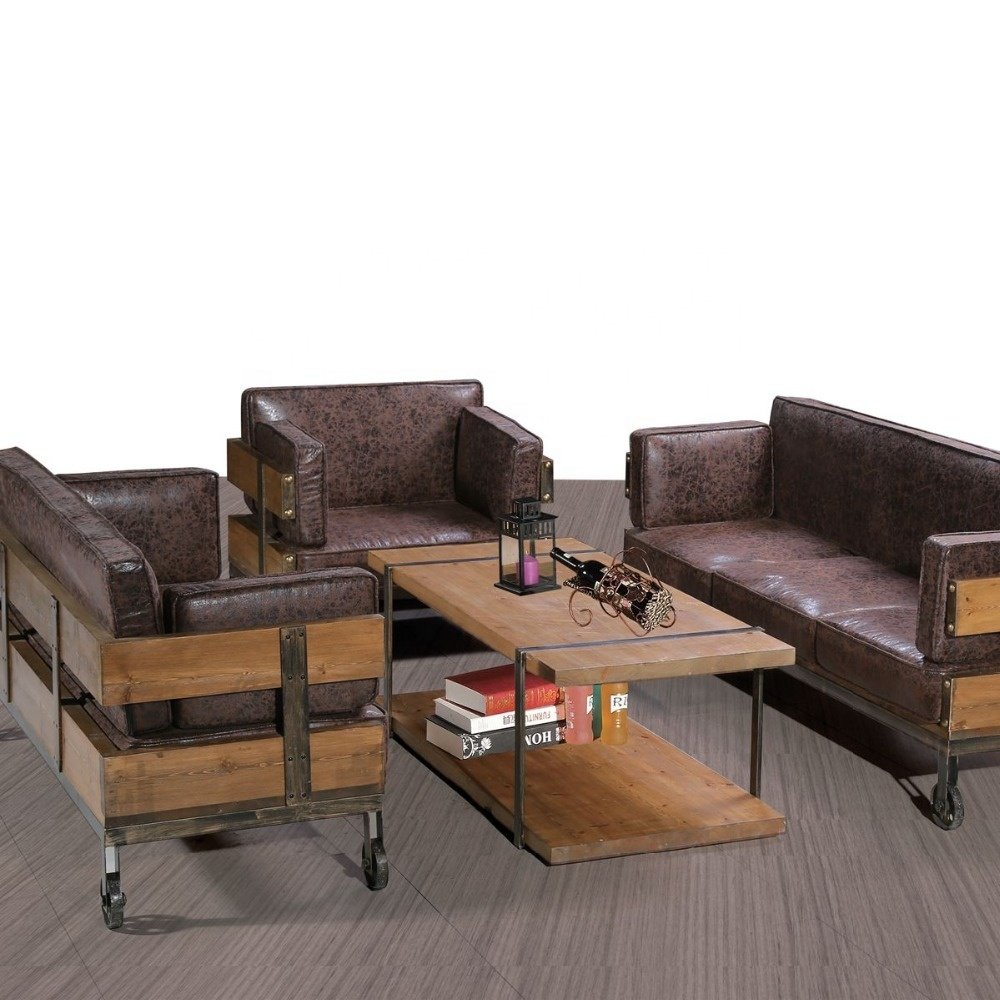 Brown Color Iron Metal <strong>Bar</strong> Sofa Furniture Set Designs Living Room Sofa Set 3 Seaters + 1 Table Office Reception Sofa Set