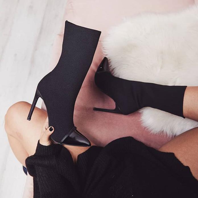 c11284a big size women high heel shoes black boots
