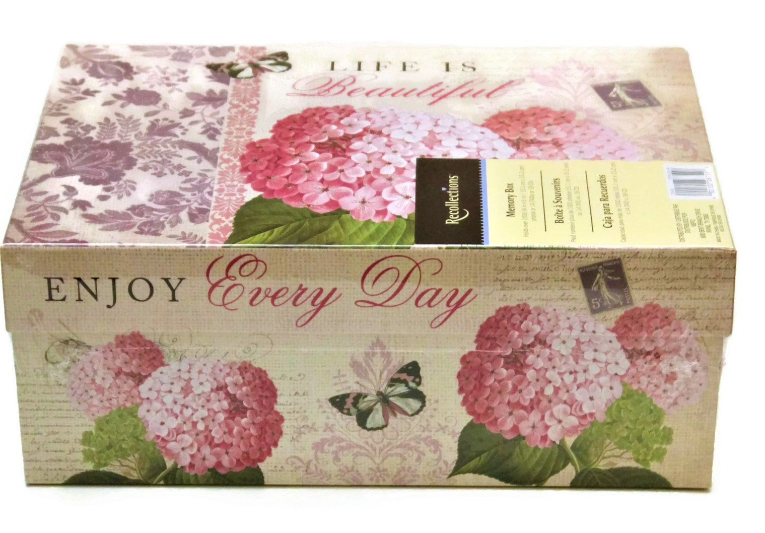 Memory Box with Free 10 Self-Tab Blank Index Cards Recollections Photo Storage Box