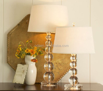 Cylinder Shaped Lampshade Grandview Crystal Base Table Lamp
