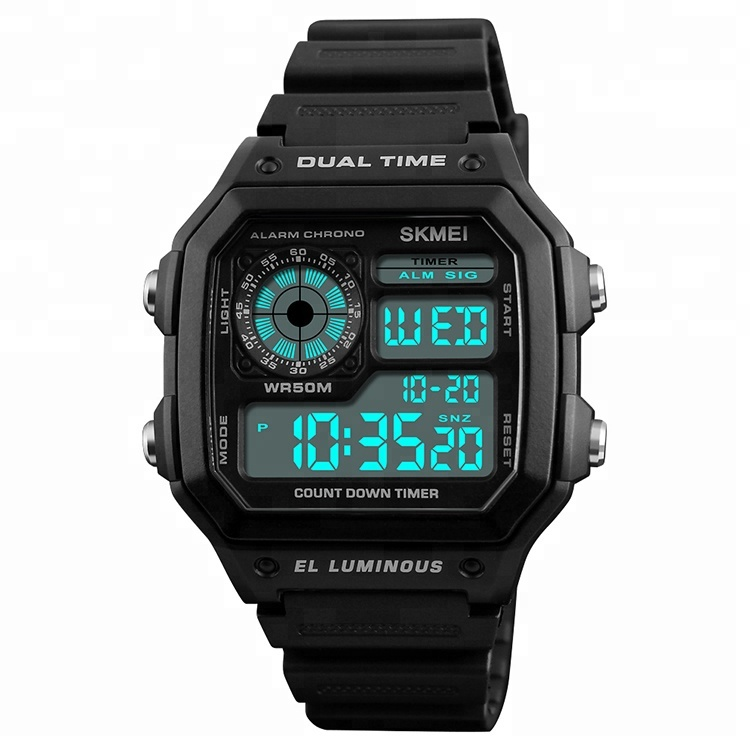 skmei 1299 Men Sporty Countdown Dual Time Digital Watch free shipping watches men, Black;blue;army green;red