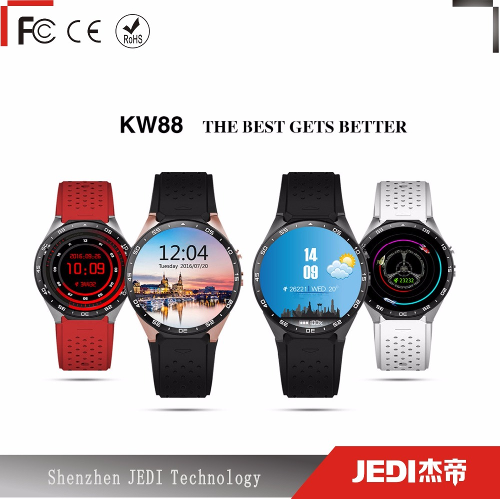 lady luxious kw88 3g wifi heart rate smart watch <strong>sim</strong> for android and ios phone message and internet E256