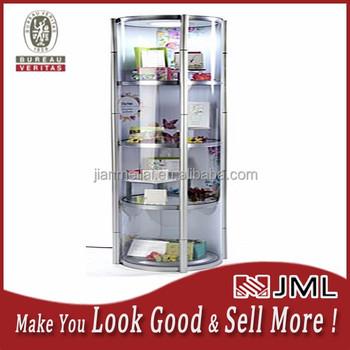 Jml Portable Round Display Case W Shelves,Top Light,4 Custom ...
