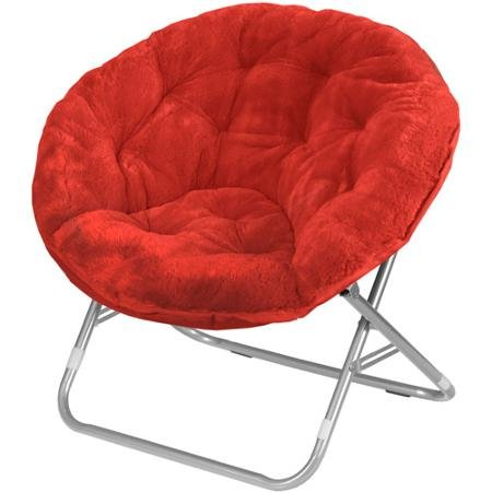 Mainstays Faux-Fur Saucer Chair, Multiple Colors (1, Red Engine)