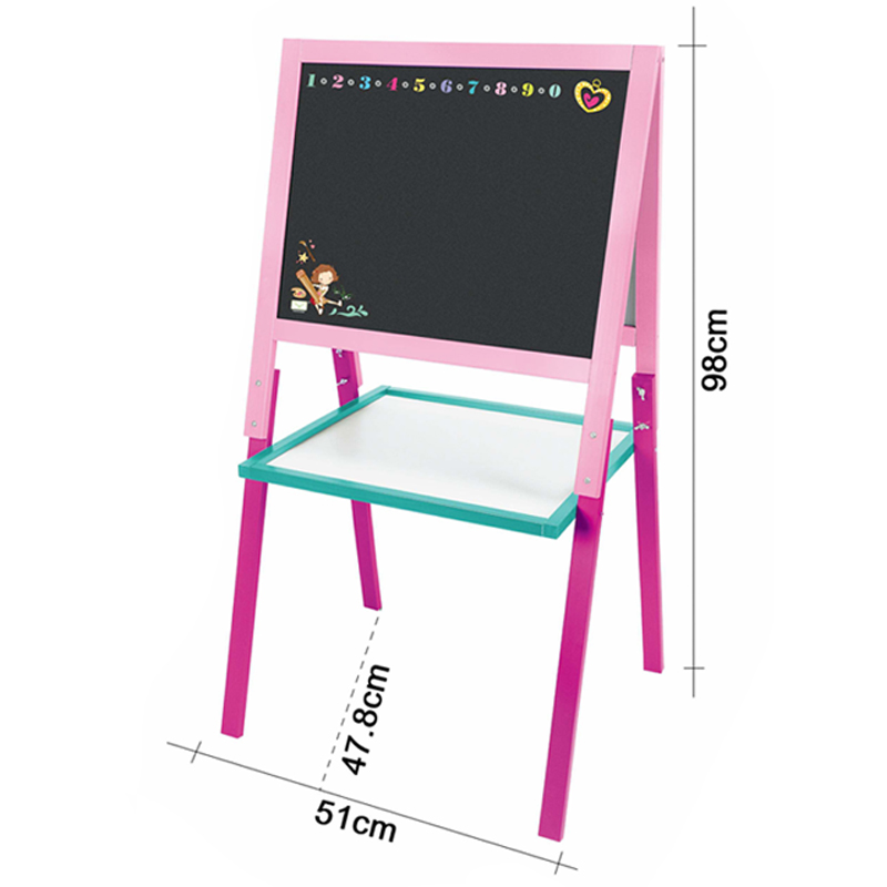 2in1 Children Wooden standing drawing board kids vertical Artistic blackboard