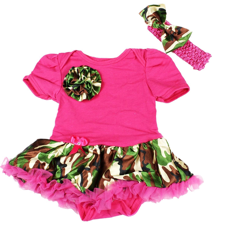 8c982bf87005 Get Quotations · Petitebella Camouflage Rose Hot Pink Bodysuit Camo Baby  Dress Nb-18m