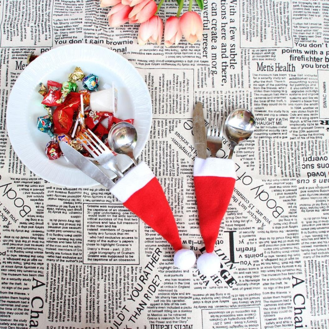Ikevan Christmas Decorative tableware Knife Fork Set Christmas Hat Storage Tool
