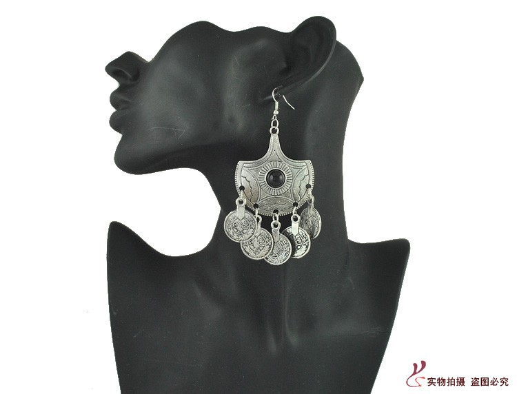 New Arrival Vintage Style Drop Dangle Earring Environmentally Friendly Zinc Alloy Antique Silver Coin Earrings for Women Bijoux