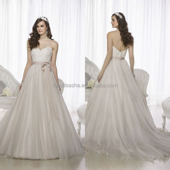 Simple 2015 Ball Gown Wedding Dress Sweetheart Long Tail Lace Bodice ...