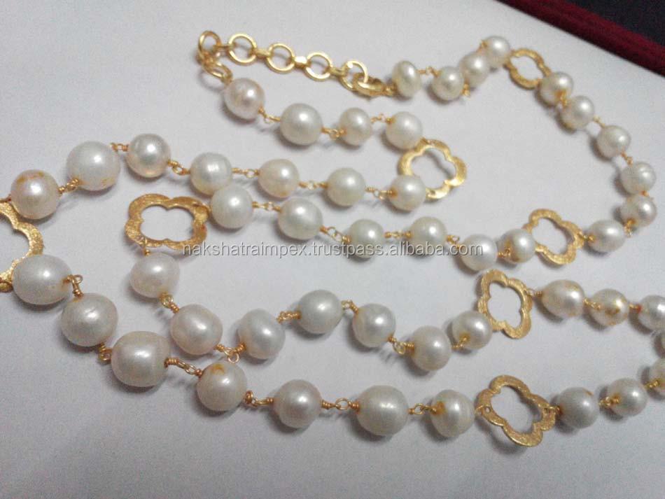Large Size Pearl Round Smooth 925 Sterling Silver Beaded Chain Necklace Set Gold Plated With Quatrefoil