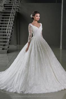 Backless Elegant Alibaba White Long Sleeve Ball Gown Lace Wedding Dresses Bridal Vestidos De Novia