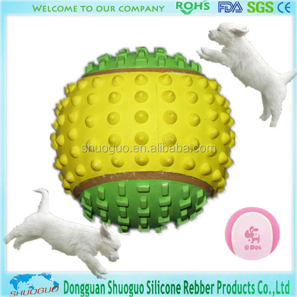 green and yellow Rubber toy ball for pets