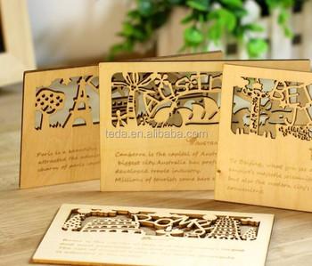 City View Post Card Shape Wood Veneer Chipboard Scrapbooking Embellishment Diy Craft 4 Patters Post Cards Buy Diy Anime Craft Card Laser Cutting