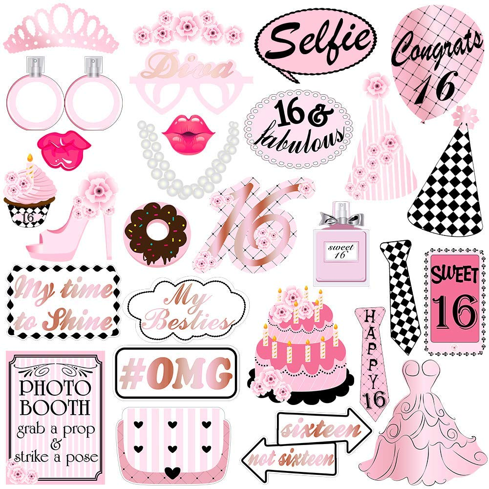 Buy Sweet 16 Birthday Party Photo Booth Props Kit For 16th Birthday