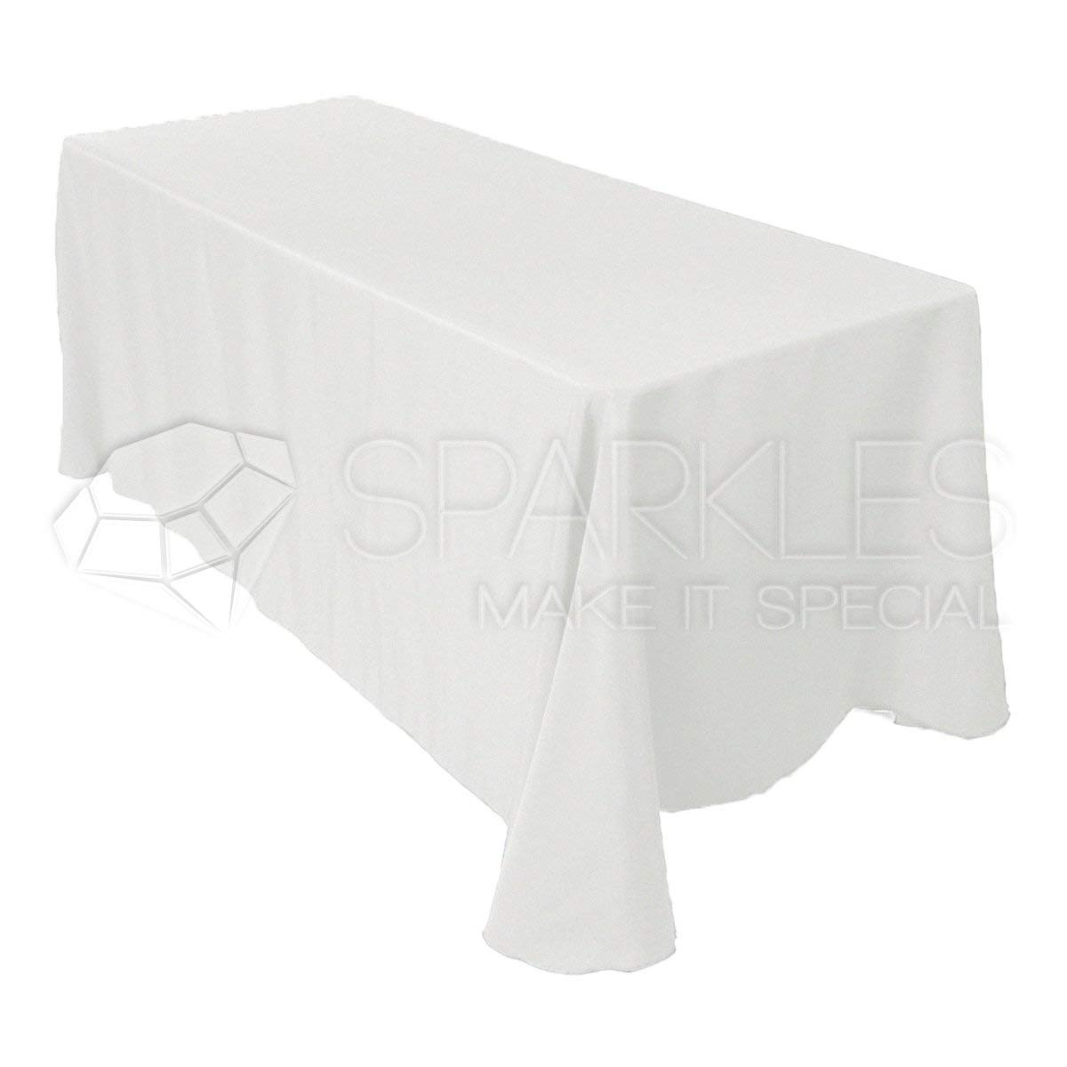 "Sparkles Make It Special 10-pcs 90"" x 132"" Inch Rectangular Polyester Cloth Fabric Linen Tablecloth - Wedding Reception Restaurant Banquet Party - Machine Washable - Choice of Color - White"