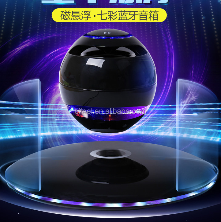Magnetic levitation speaker wireless UFO floating flying blue light speaker with TF card