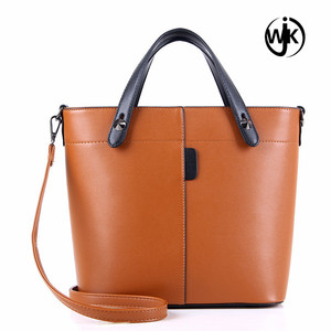 Online shopping handmade black color college leather bags handbag professional women's shoulder bag