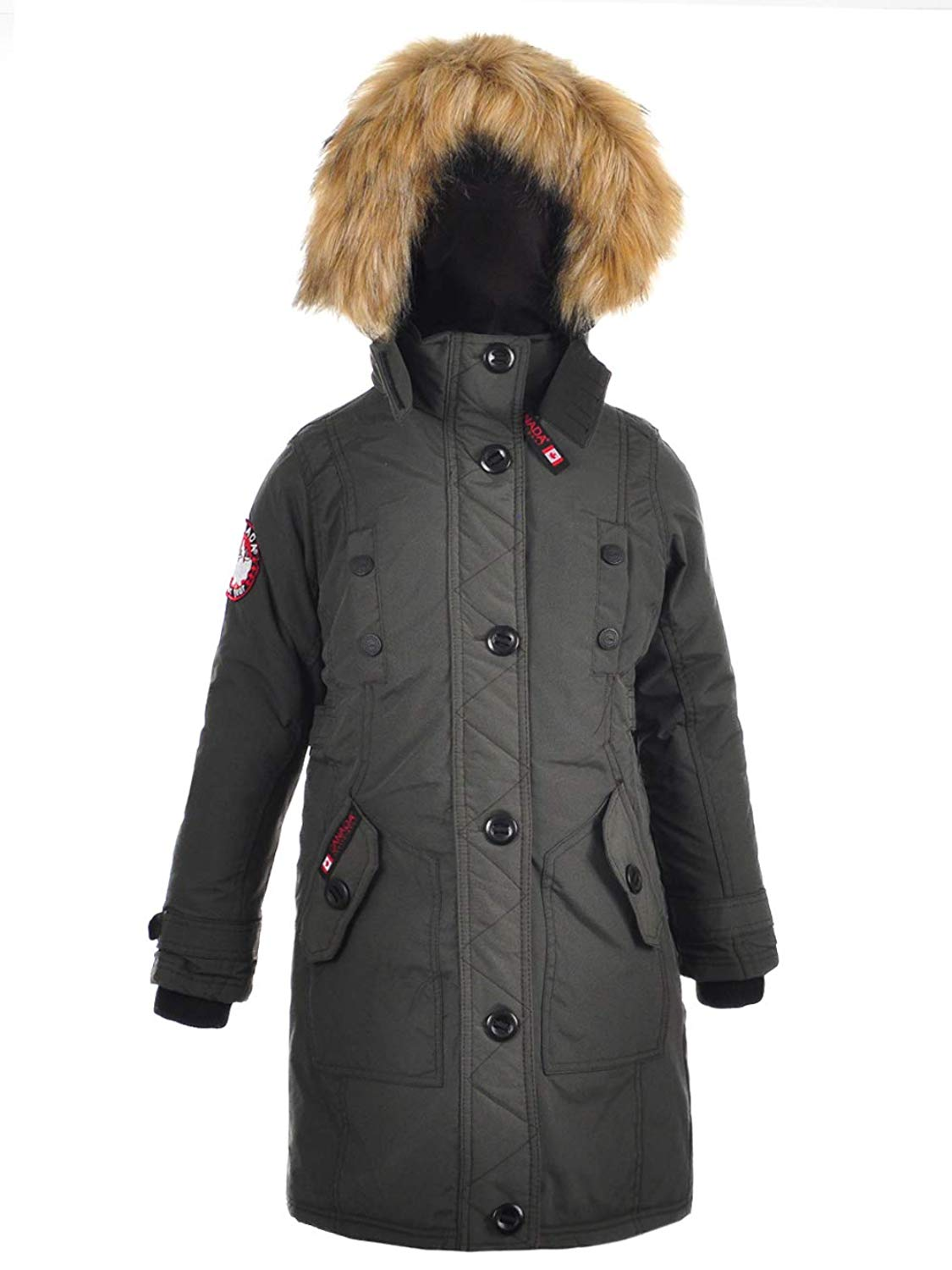 CANADA WEATHER GEAR Big Girls' Insulated Parka - Olive, 10-12
