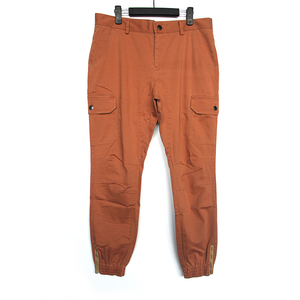 woven men trousers jogger pants colored garment wash elastic hem zipper hem cargo pants men back flap pocket pants men