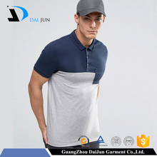Daijun OEM Factory Breathable New Design 200g Blue Gray 100% Cotton Two-Tone Polo Shirts