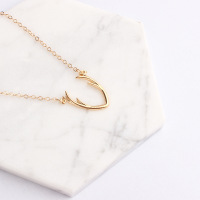 2017 new fashion simple gold silver plated alloy antler necklace pendant deer horn necklace for women girls jewelry