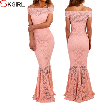 Off shoulder longo de festa women s hourglass mermaid fishtail floral lace  maxi dresses party gowns c9d42ddb38