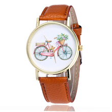 2017 Fashion Bicycle Watch Casual Women Ladies Wrist Watches Vintage Leather Quartz Watches Relogio