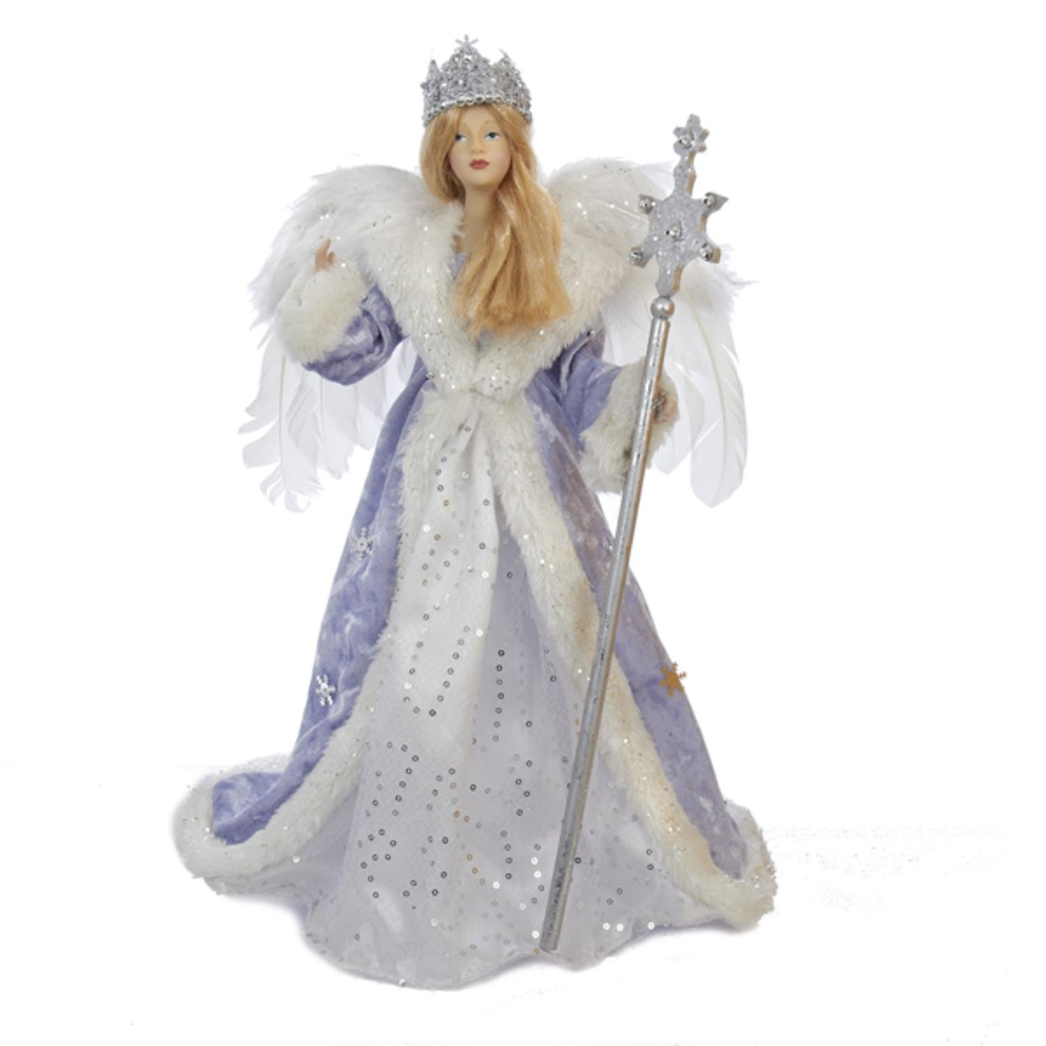"""17"""" Glittered Ice Blue, White and Silver Ice Palace Snow Queen Christmas Tree Topper - Unlit"""