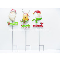 Good sale christmas metal santa Wooden Xmas Garden Stake