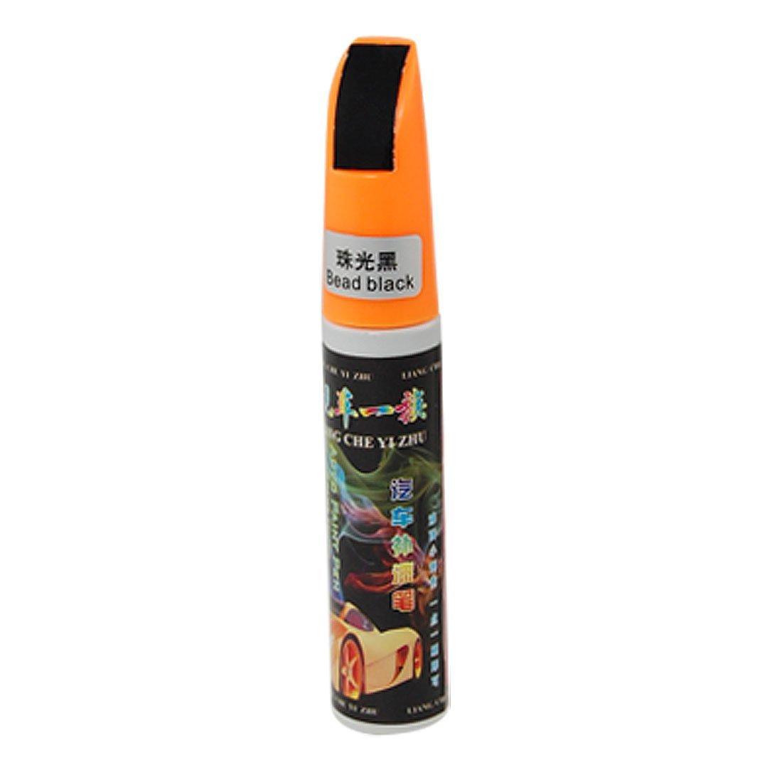 uxcell Orange Plastic Cap Bead Black Scratches Repairing Brush Paint Pen for Car