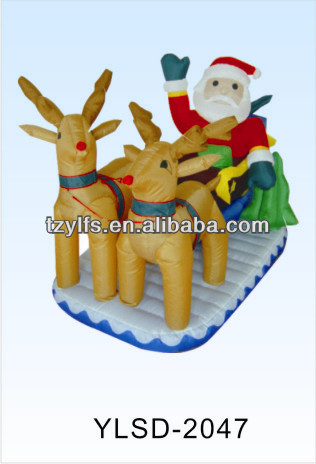 cute air blown pop up inflatable santa and reindeer on sled for promotion , inflatable Christmas santa toys