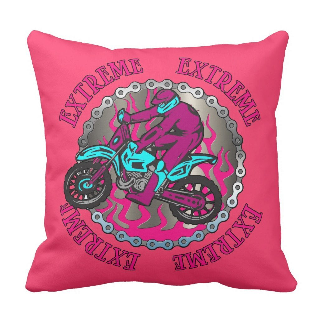 "Zazzle Dirt Bike Jumper Pink Girls Decorative Pillow 16"" x 16"""