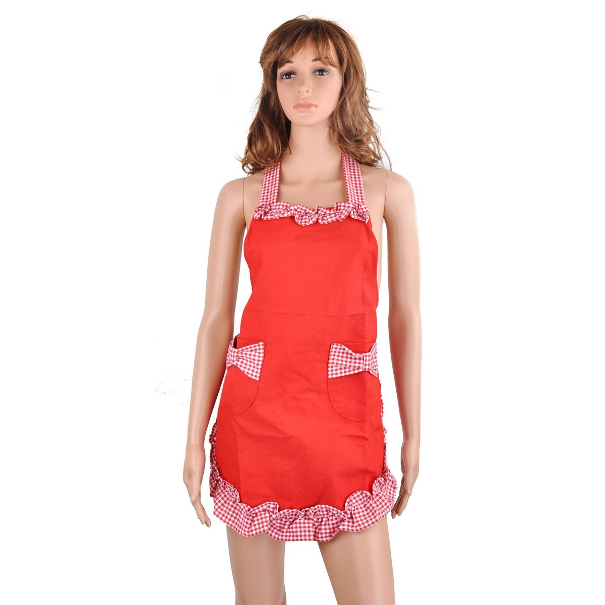 PIXNOR Kitchen Cooking Baking Apron Women Apron with Pockets (Red)