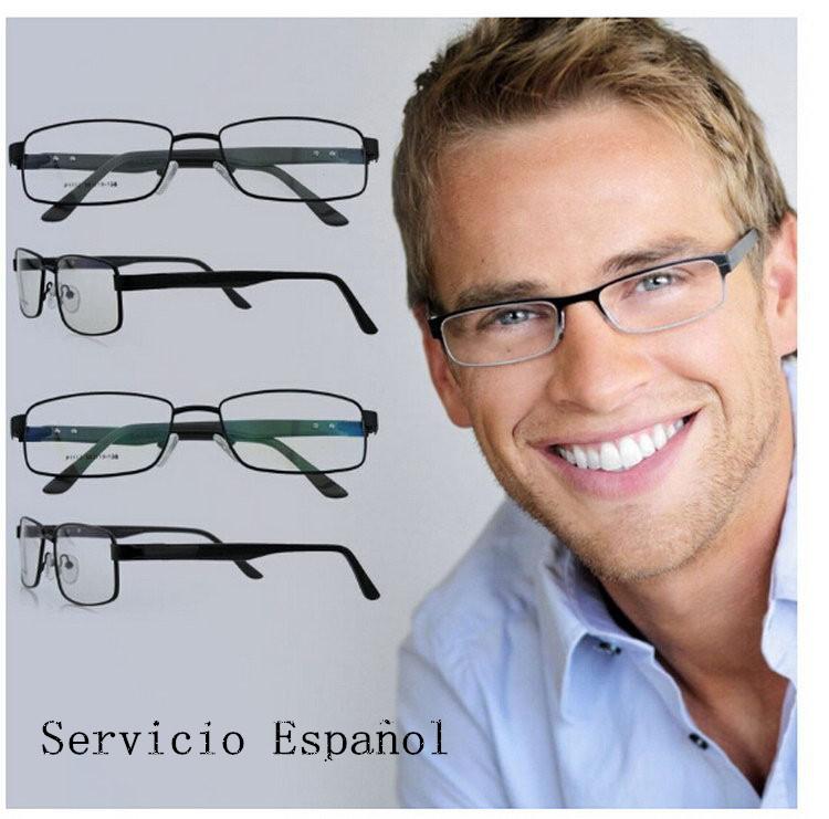 3783e5bd41 Monturas ópticas de gafas/anteojos de moda de color plata de inoxidable para  hombres con