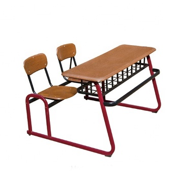 College Steel School Desk And Bench/ Sturdy Metal Frame Combo Student Table  And Bench