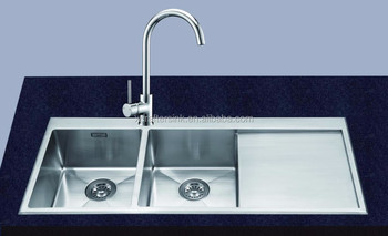Sus 304 Handmade Kitchen Sink Double Bowl With Drainboard