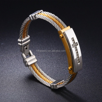 Hot Selling 2017 Amazon Mens Jewelry Two Tone Stainless Steel