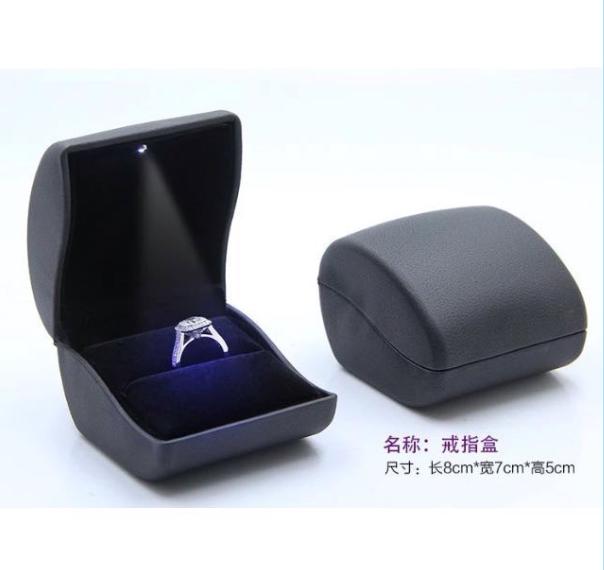 Luxury Handcraft LED light jewelry ring box antique ring box with led coated with pu plastic