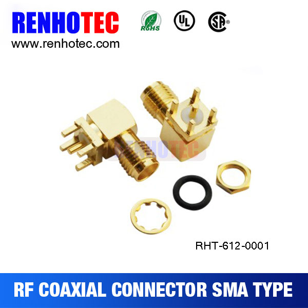 Waterproof Right Angle PCB Mount SMA Jack Connector