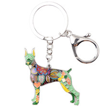 Брелок для ключей Bonsny, эмалированный сплав, собака добермана, брелок для ключей, ювелирных изделий для женщин, сумка, автомобильный держател...(Китай)