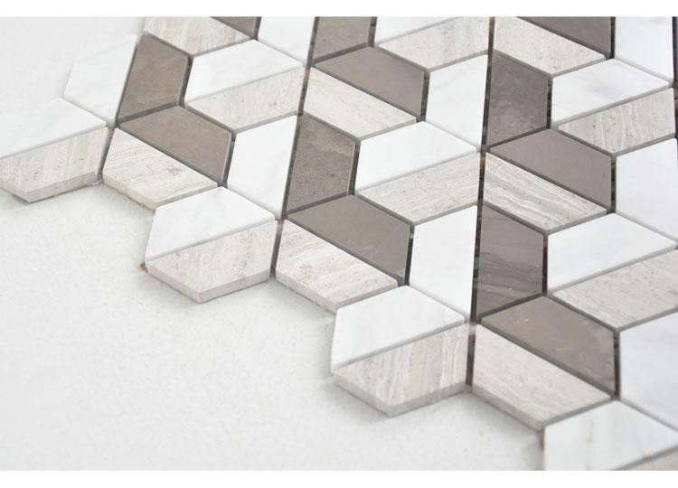 Blanc Gris Et Noir Couleur Mixte Mosaïque De Marbre Carrelage - Carrelage hexagonal gris
