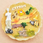 Home Decorative Handmade Round Plate Shaped Fridge Magnet Cyprus Beach Venus Polyresin Refrigerator Magnet