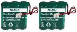 Replacement Telephone Battery for Panasonic KX-PSPT3HRAAU411 PSPTHRAAU4165 BATT-4165 / CPH-400J (2-Pack)