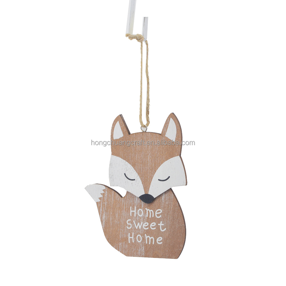 Wooden craft fashion pendant with cute little fox shape for wall