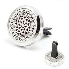 Car Air Freshener 316L Stainless Steel Locket 30mm Vent Aromatherapy Essential Oil Diffuser Car Perfume Locket Clip